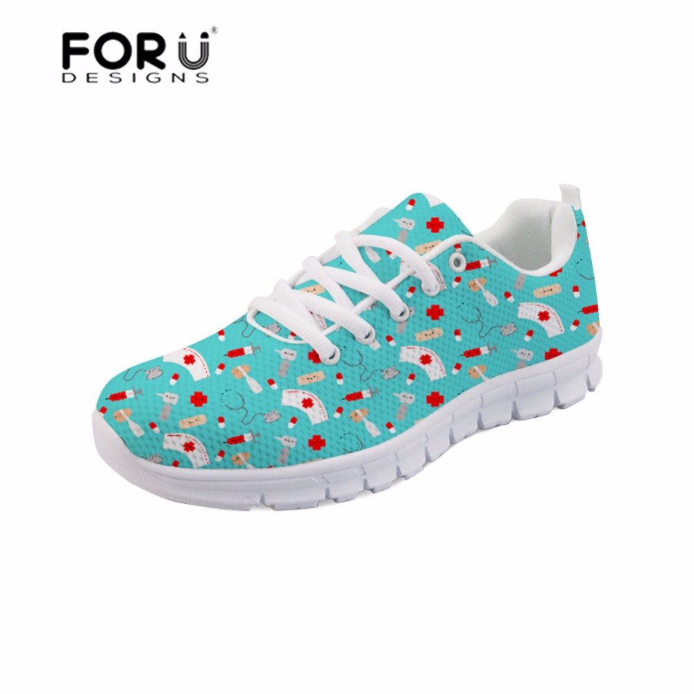 FORUDESIGNS Happy Doctor Women Sneakers Flats Shoes Cartoon Nurse Printing Lightweight Sneaker for Female Casual Mesh Lace-up