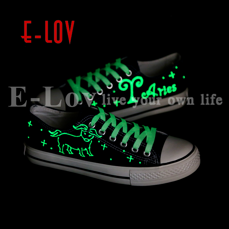 E-LOV Personality Luminous Casual Walking Shoes Hand Painted Graffiti Aries Constellation Canvas Flats Shoes For Women e lov women casual walking shoes graffiti aries horoscope canvas shoe low top flat oxford shoes for couples lovers