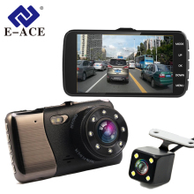 E-ACE Car Dvr 4.0 Inch LDWS ADAS Camera FHD 1080P Night Vision Dual Lens With Car Distance Warning Dash Cam Auto Registrator