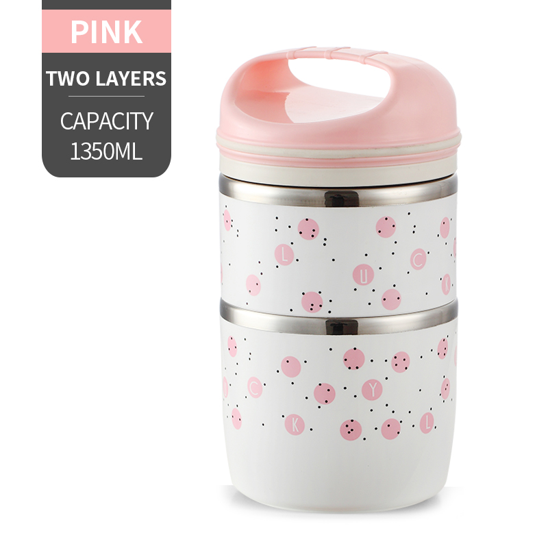 Милые детские Термальность Коробки для обедов герметичность Нержавеющая сталь Bento box для детей Портативный Пикник школа Еда контейнер Box - Цвет: NO. Pink 2 Layer