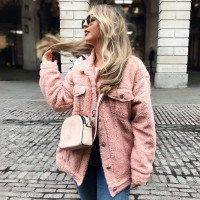 Lambswool Faux Fur Women's Furry Jacket Coats Shaggy Warm Button Loose Streetwear Female Coat 2018 Winter Casual Overcoat Women