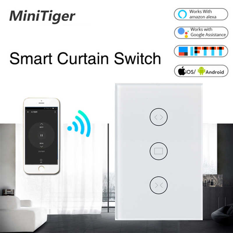 Tuya Smart Life WiFi Curtain Switch for Electric Motorized Curtain Blind Roller Shutter, Google Home, Amazon Alexa Voice Control