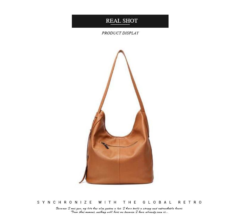 cce47872fb5d Fashion Women Genuine Leather Handbag Casual HOBO Women Shoulder Bag Soft  Large Bucket Shopping Bag First Skin Cowhide Bag Tote