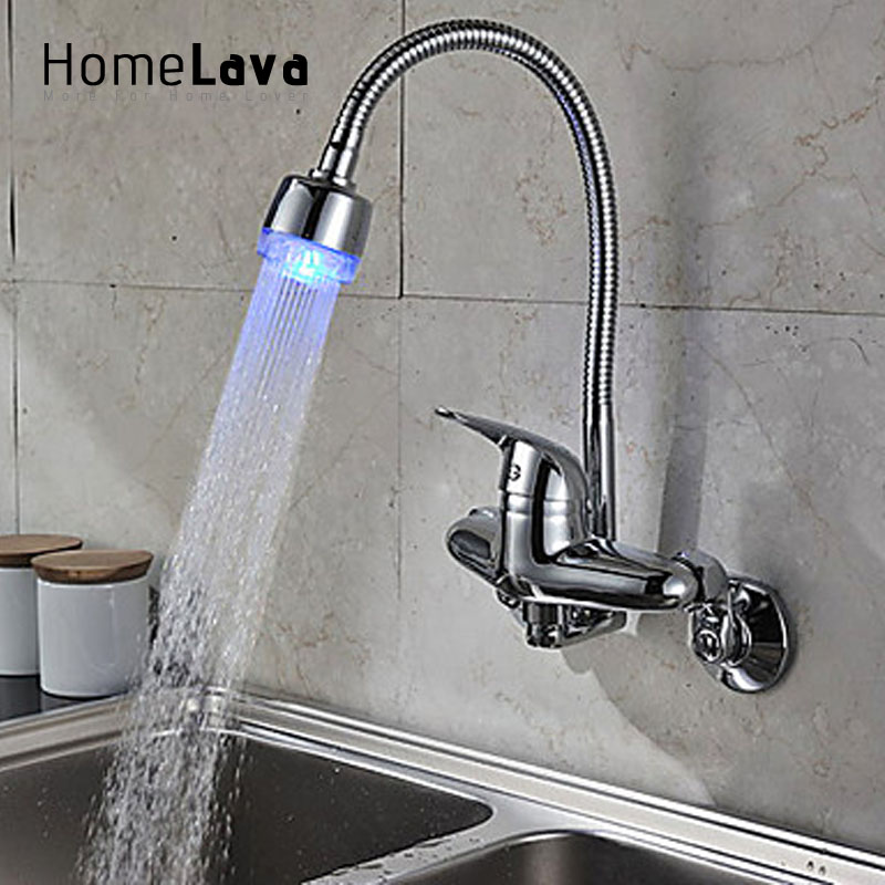 Flexible Chrome Finish Single Handle Color Changing LED Wall Mount Kitchen Faucet