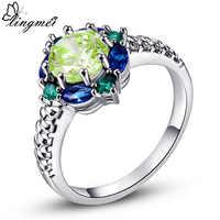Lingmei bijoux de bande de mariage vert violet rouge rose CZ bague en argent taille 6 7 8 9 10 pour les femmes de mode anneau cadeau en gros 26R