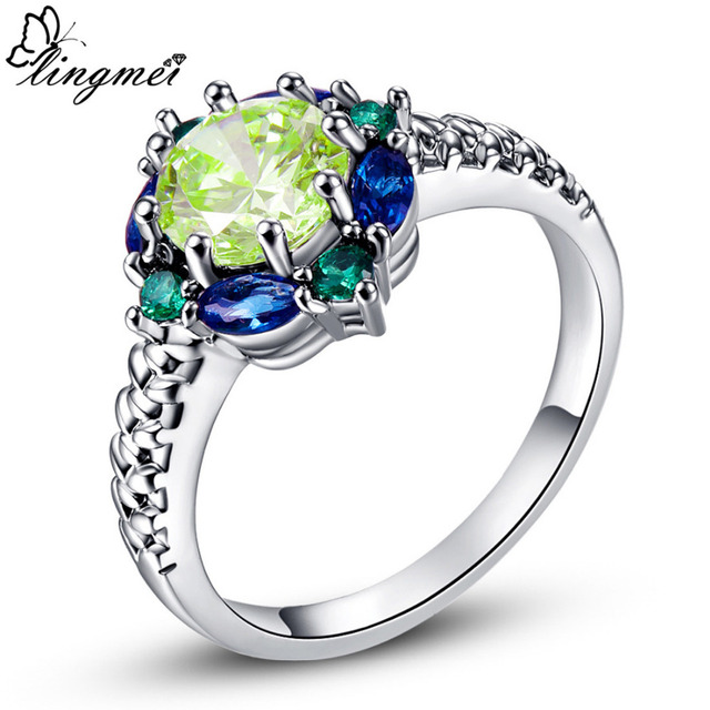 lingmei Wedding Band Jewelry Green Purple Red Pink CZ Silver Ring Size 6 7 8 9 1