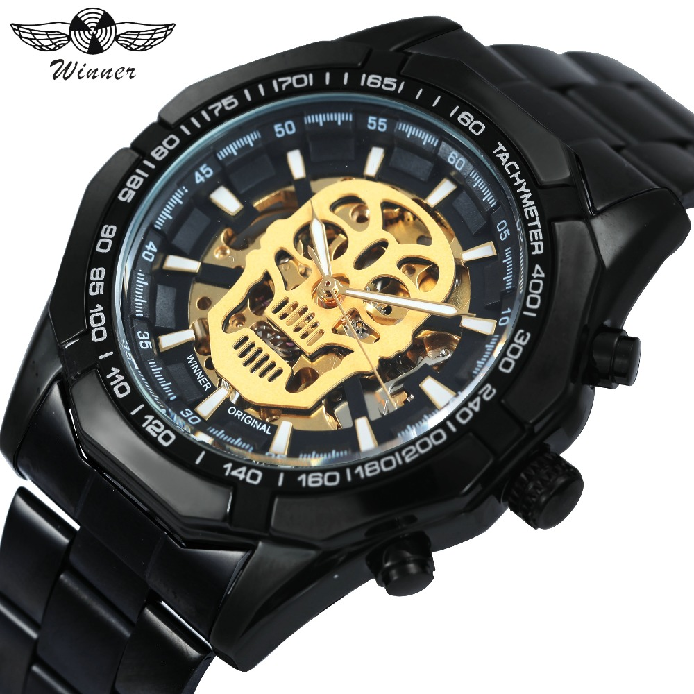 WINNER Cool Black Men Auto Mechanical Wrist Watch Skull Skeleton Dial Steel Watch Band Luminous Hands Top Brand Luxury Clock winner men fashion black auto mechanical watch leather strap skeleton dial square shape round case unique design cool wristwatch