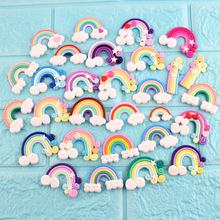 10pcs/lot Colorful Rainbow Clay Decoration Crafts Kawaii Flatback Cabochon Embellishments For Scrapbooking DIY Accessories Butto