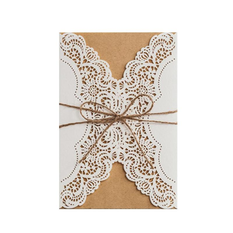 5pcs wedding invitation card Romantic lace Kraft paper delicate carved postcard greeting cards wedding party event supplies A35 50pcs gold red laser cut hollow flower marriage wedding invitation cards 3d card greeting cards postcard event party supplies