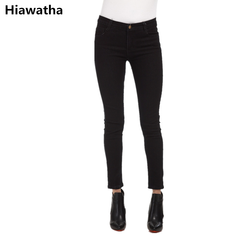 Hiawatha 2017 Pencil Pants Large Size Women Solid Color Slim Jeans Casual Sprng Summer Mid-Waist Denim Pants Feminina JST008 2017 new jeans women spring pants high waist thin slim elastic waist pencil pants fashion denim trousers 3 color plus size