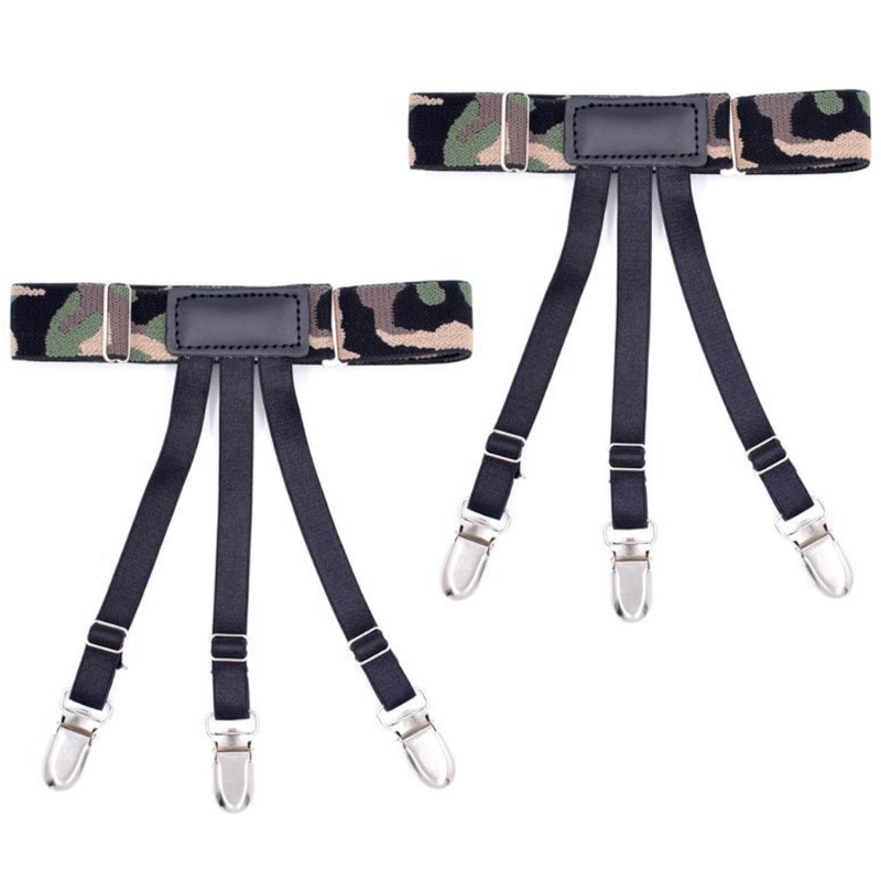 Mens Camouflage Suspenders Adult Elastic Tirantes Braces Shirt Holder Garter New