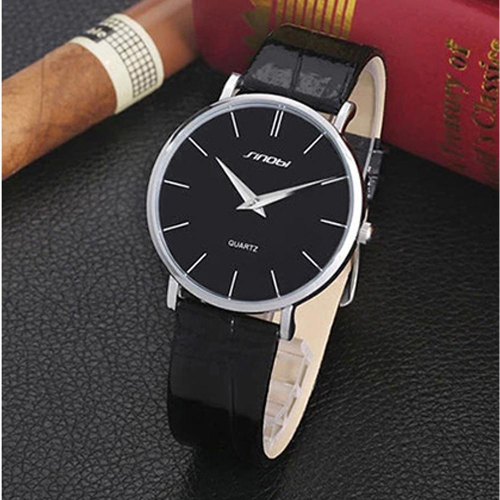 SINOBI 9140 Luxury Brand Fashion Quartz Wirst Watch Stainless Steel Case Leather brand Water Resistant For Male