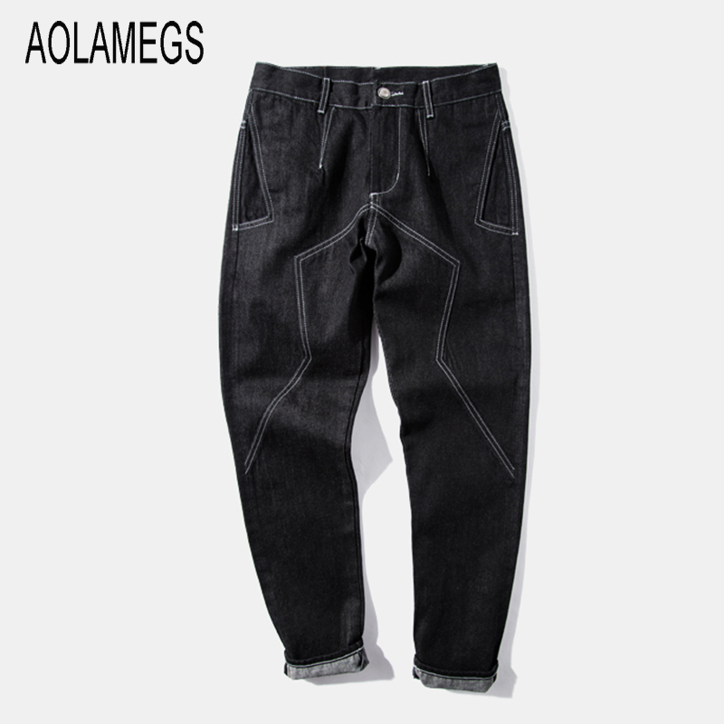 Aolamegs Mens Jeans Blue Black Straight Jeans Fashion Classic Top Quality Red Line Design Denim Trousers Hip Hop Street Wear