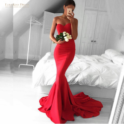 Classical women prom dress sweetheart off shoulder long mermaid red prom evening dress with long train.jpg 250x250
