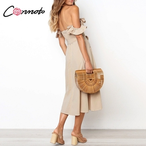 Image 4 - Conmoto Vintage à volants Sexy épaule dénudée longue robe femmes 2019 été fille fête Maxi robe Empire ceintures robe mi longue Vestidos