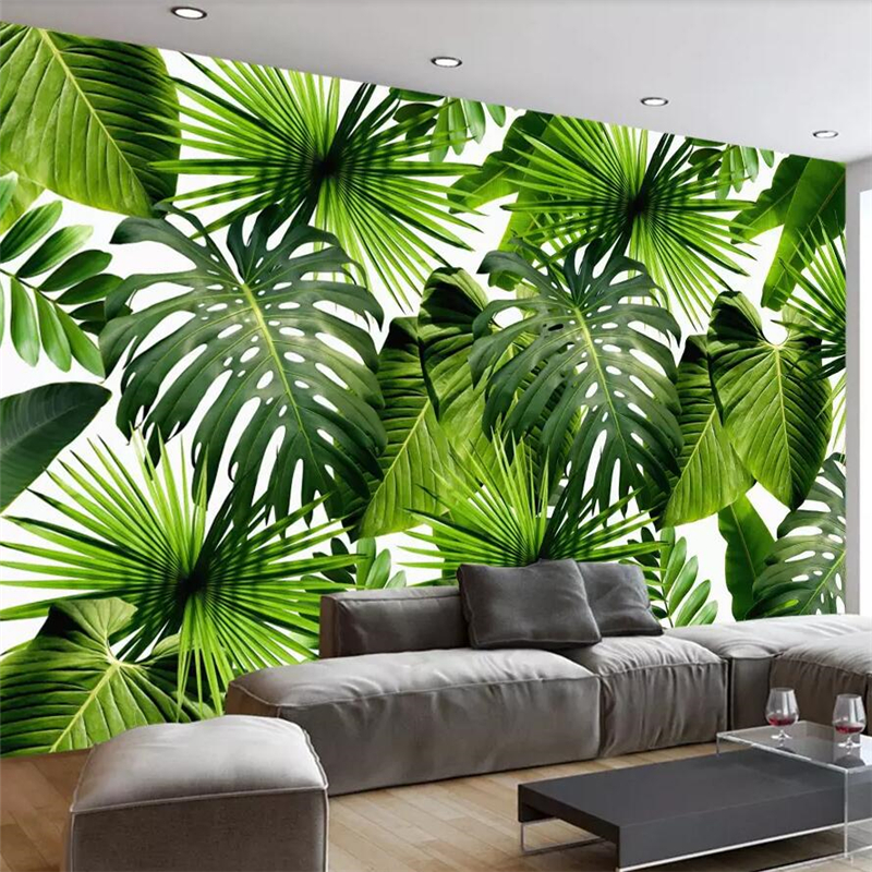 Custom 3D Mural Wallpaper Southeast Asia Tropical Rainforest Banana Leaf Photo Background Wall Murals Non-woven Wallpaper Modern large murals non woven beauty flowers porch corridor sand background wallpaper 3 d wallpaper papeles pintados