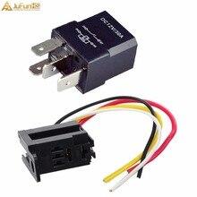 цена на 5Pcs 12V 30A 30 AMP 4P 4 Wire Car Auto  SPST Relay & Socket Kit For Electric Fan Fuel Pump Horn