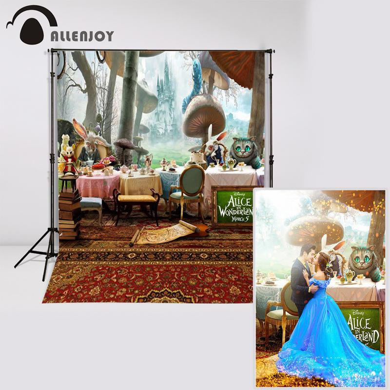 Prix pour Allenjoy 5ftx7ft Alice au Pays Des Merveilles Photographie Toile de Fond de bande dessinée chat tapis champignons fond pour photo studio Personnalisé taille