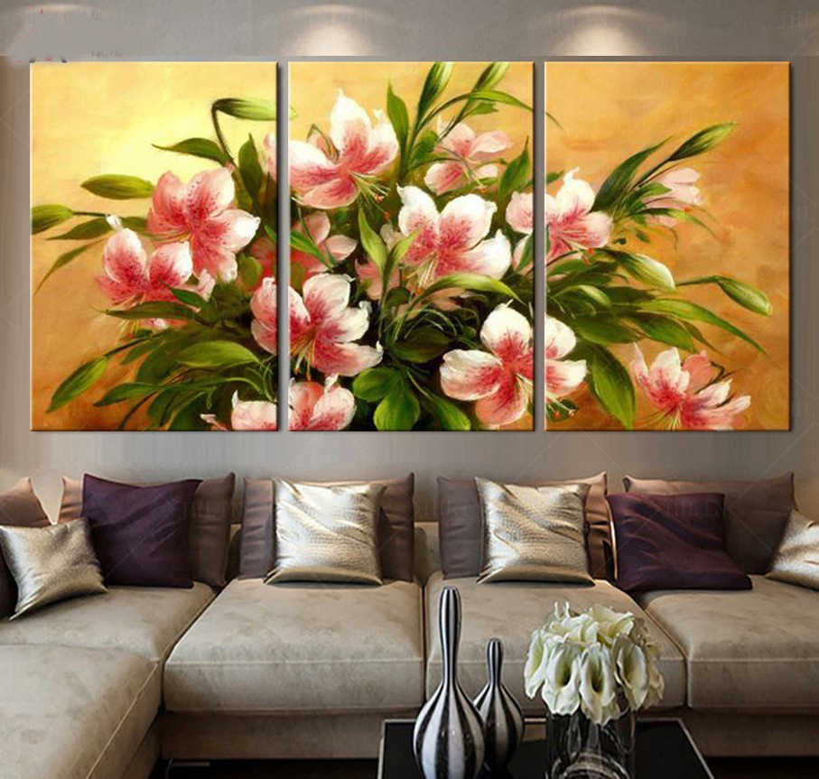 Print Painted Van Gogh Oil Painting Reproductions 3 Piece Abstract Canvas Art Apricot flower Picture canvas painting Modern