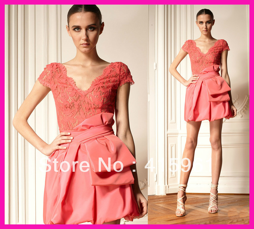 free shipping 2019 vestido de festa customize Water Melon handmade Cap Sleeve Lace Short Party Prom gown   Cocktail     Dresses