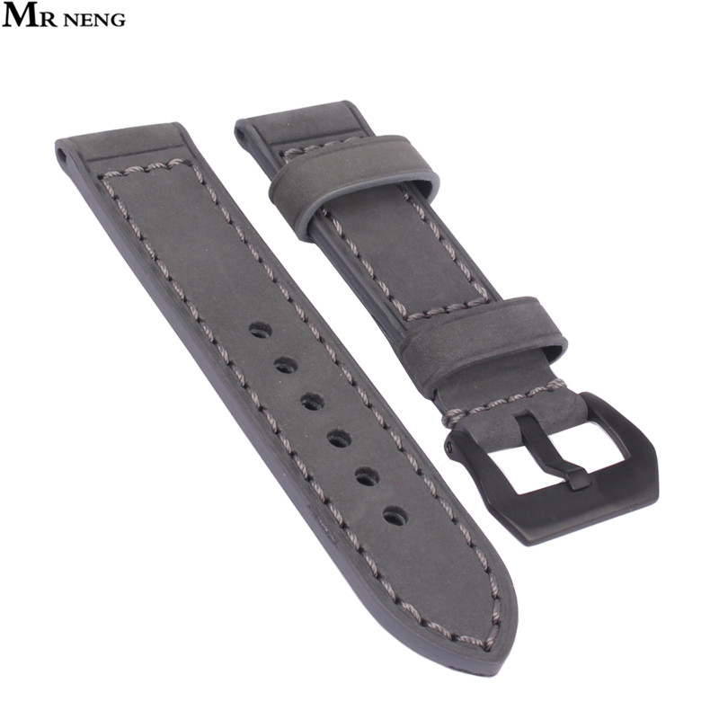 MR NENG Brand Casual Leather Watchband 22mm Grey Color Stainless Steel Buckle Men's Fashion Genuine Leather Watch Strap 24 26mm d 32 fashion purple red fish skin leather watch strap 24 22mm watchband with buckle