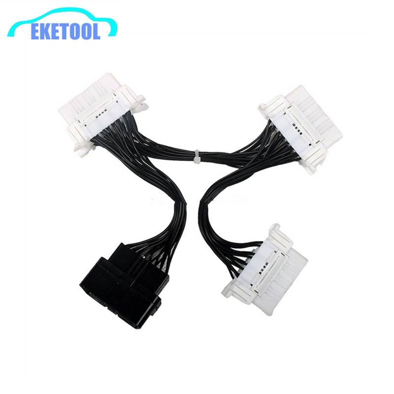 Car Diagnostic Electronic Wire Cable OBD2 16PIN Male To 3 Female For ELM327 OBD2 16PIN Connector Adapter White Wire