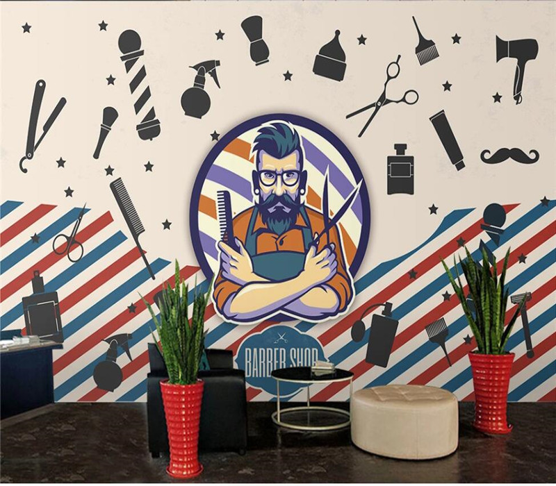 Professional custom wallpaper hair salon barber shop decorative wall series - high-grade waterproof material cloth