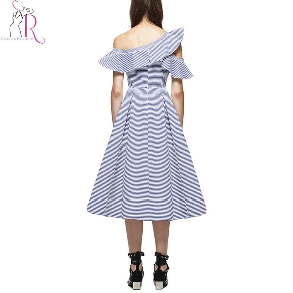 0b7b14a325 Blue Stripe Asymmetric Cold Shoulder Ruffle Trim A Line Midi Dress Women  Short Sleeve Surplice V Neck Novelty Designer Dresses