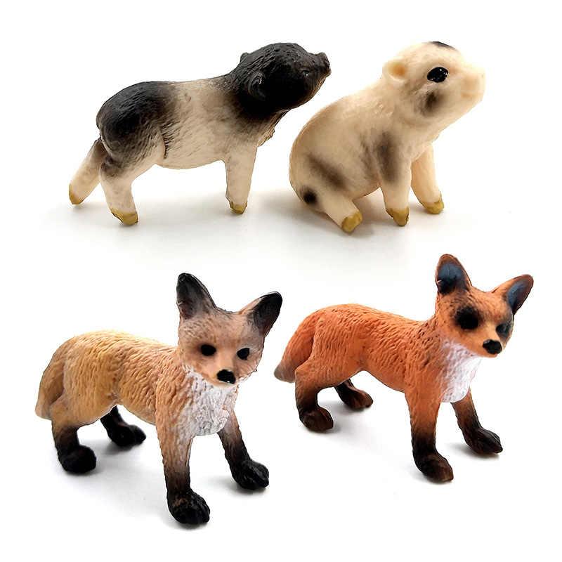 Мини-моделирование Красной лисы поркет свинья фигурки животных лесные дикие животные пластиковые украшения развивающие игрушки подарок для детей