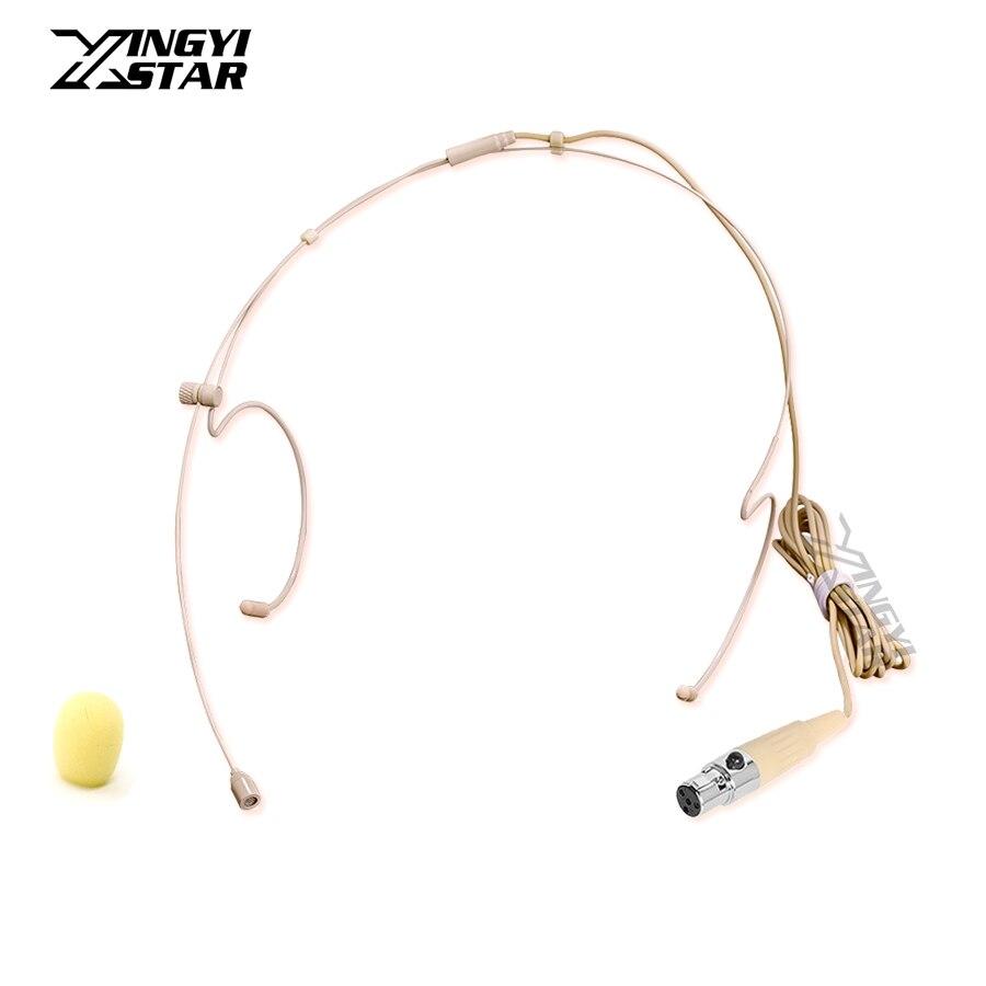 Beige Mini XLR 4 Pin TA4F Headworn Headset Microphone For Shure Wireless BodyPack Transmitter KCX1 PGX1 PGX14 BLX1 SLX1 GLXD6 T1