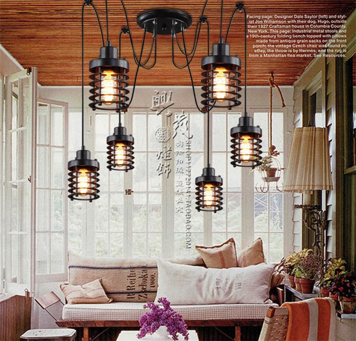 Retro industry Vintage industrial chandelier wind new creative restaurant bar cage conspersa iron lamp chandelier pulley ZX191