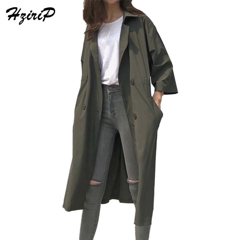 HziriP Fashion Double Breasted Long   Trench   Coat Women 2018 Spring Autumn New Korean Solid Loose Casual Thin Windbreaker Abrigos