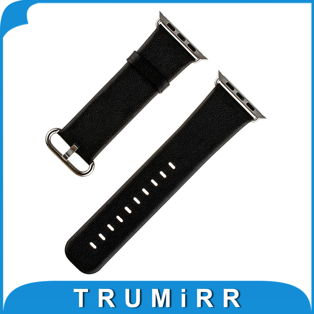 Prix pour Véritable Bracelet En Cuir pour iWatch Apple Watch Sport Édition 38mm 42mm Remplacement De Courroie De Bande Bracelet avec Connecteur Adaptateur