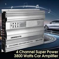KROAK 3800 Watt 4 Channel 12V Car Audio Power Amplifier Amp Aluminum Alloy Silver