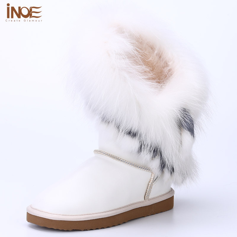 INOE cow leather & sheep fur lined white fox fur tassels fashion women winter snow boots for women winter shoes waterproof white inoe fashion big fox fur real cow split leather high winter snow boots for women winter shoes tall boots waterproof high quality