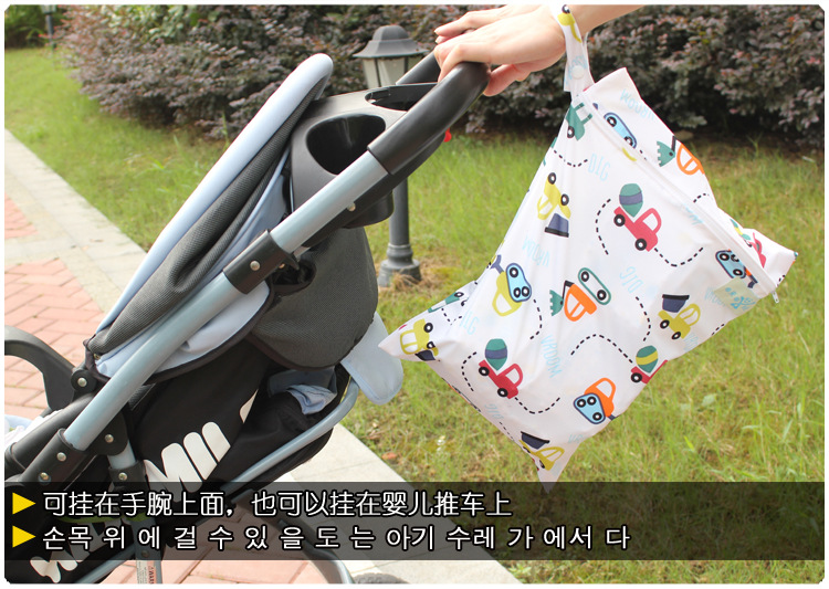 HTB1C4i4XhrvK1RjSszeq6yObFXaR Baby 30*40cm Diaper Bag Infant Waterproof Reusable Wet Dry Bag Print Pocket Nappy Bag Travel Single Layer Diaper Bag with Zipper