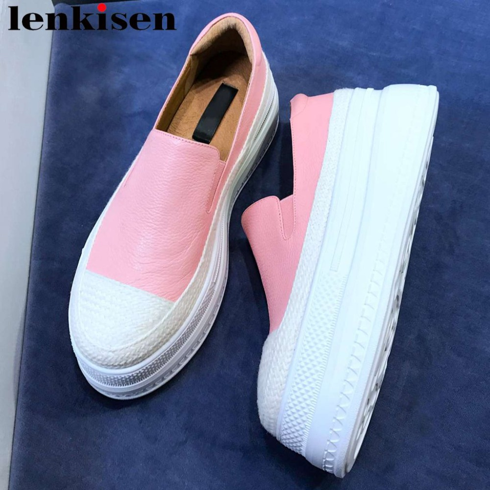 2019 new arrival genuine leather round toe loafers handmade slip on thick high bottom platform mixed