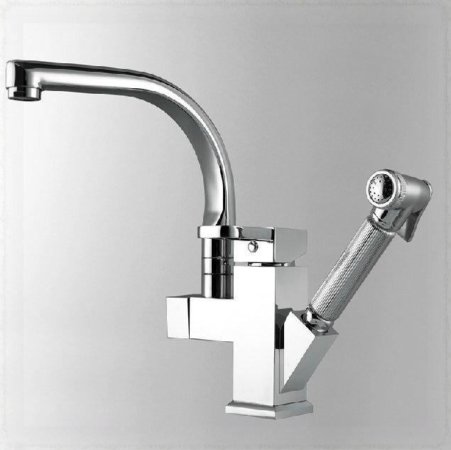 2 Way Kitchen Faucet Chromed Brass Sink Mixer Tap Pull Out Sprayer Gun Wall  Mount