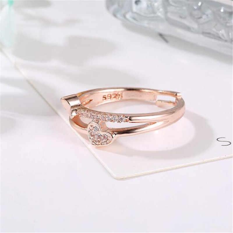 คู่หัวใจรักเงินทองหมั้นแหวนคริสตัล Zircon Leaf ปรับสุภาพสตรีแหวนสำหรับเครื่องประดับสตรี