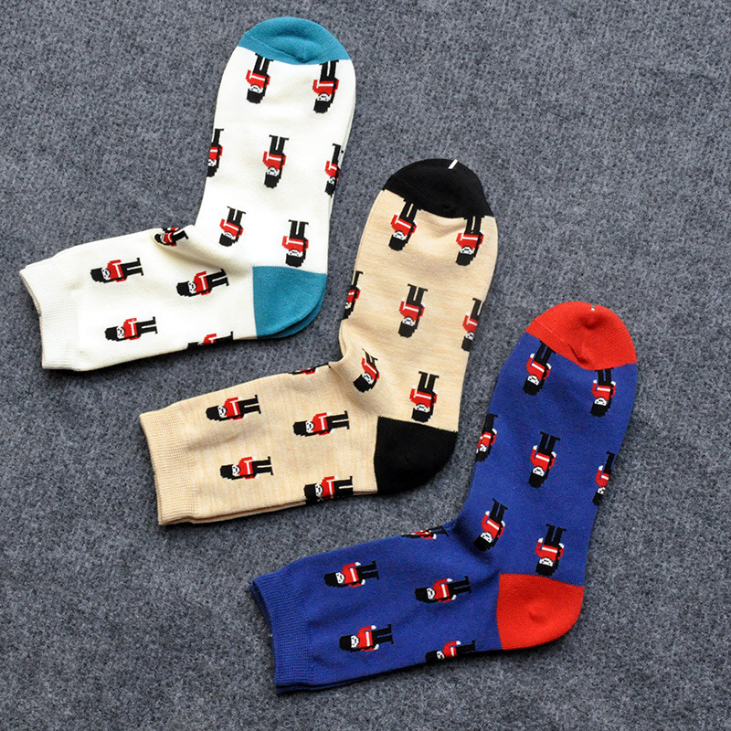 PEONFLY Cotton Restore Japanese Male happy funny long novelty Socks lot 3PAIRS/LOT Tide Autumn Pattern Pure