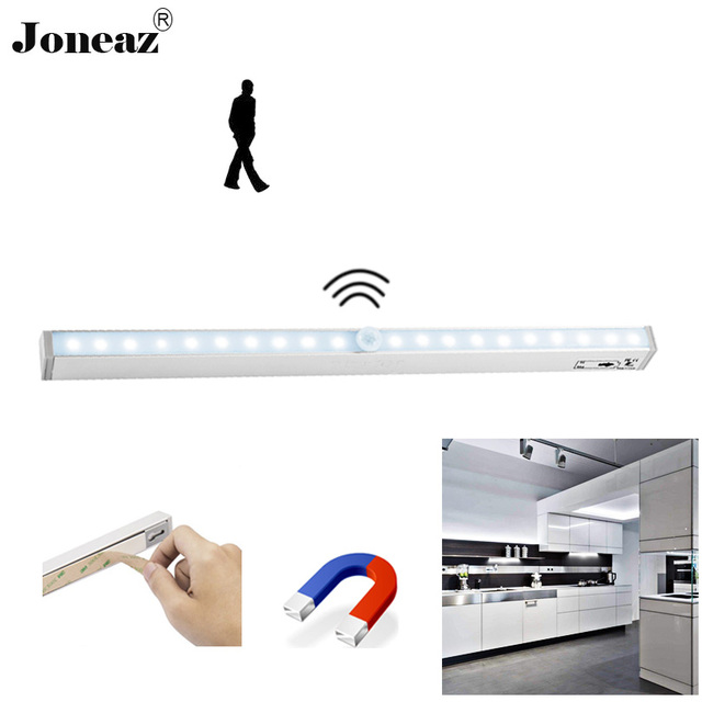 Led motion sensor kitchen closet cabinet light with battery operated licht kast lamp armadio home lights cucina 20 leds Joneaz
