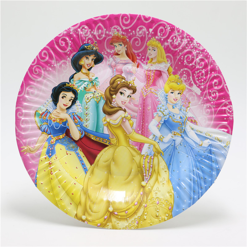 41pcs Cartoon princess Birthday Party Decorations Cup+Plate+Paper Napkin+pennant for Kids Decoration Supplies-in Disposable Tableware