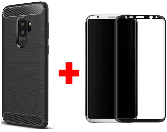 new style e1f37 375c7 Shockproof Soft Rubber Back Phone Case for Samsung S9 Plus Cover funda and  Tempered Glass For Samsung S9 Screen Protector Film-in Phone Screen ...