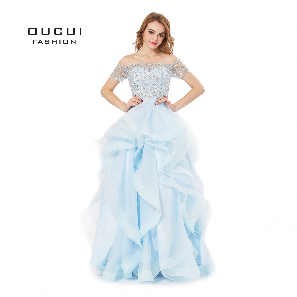 Real Photos Organza Fabric Beading   Prom     Dresses   Elegant Handwork Strapless Ruffles Party Gown Evening Women BL1815