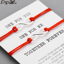 Pipitree 2pcs/set Together Forever Love Infinity Bracelet for Lovers Red String Couple Bracelets Women Men's Wish Jewelry Gift(China)