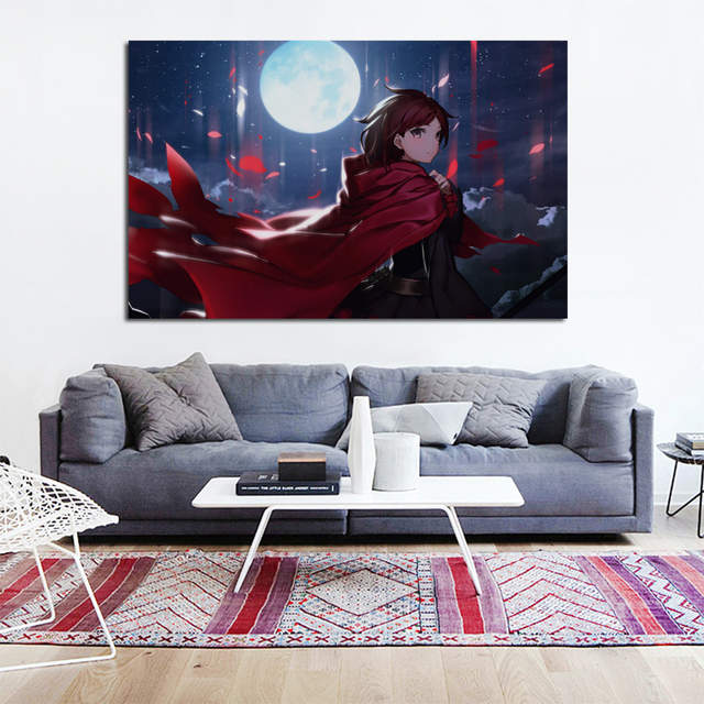 Us 7 67 36 Off Ruby Rose Rwby Beautiful Cool Anime Girl Under Moon Night Ke200 Living Room Home Wall Art Decor Wood Frame Fabric Poster Print In