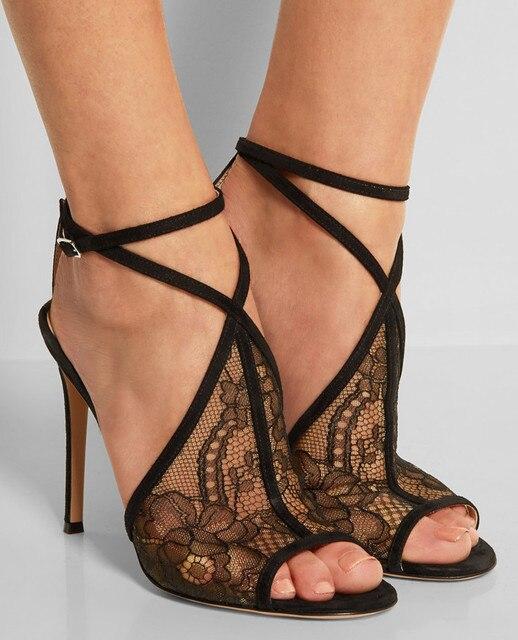 Européenne d'été de mode sandales sexy noir dentelle vide sandales à talons  hauts peep