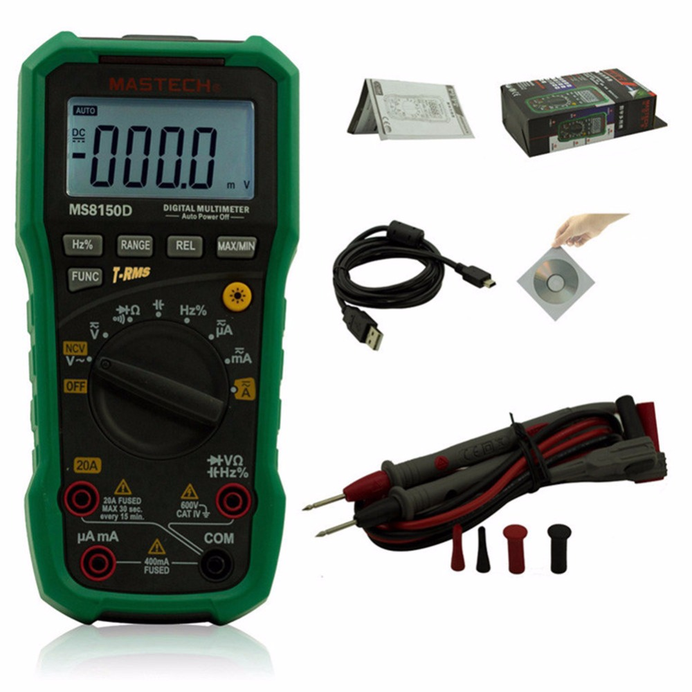 Mastech MS8150D Digital Multimeter Auto Range Ture RMS Portable Tester Meter Electrical Instrument Diagnostic-tool 1 pcs mastech ms8269 digital auto ranging multimeter dmm test capacitance frequency worldwide store