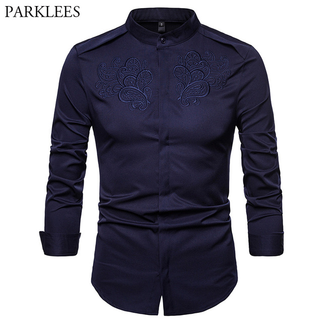 be83f38512 Camisa bordada Floral hombres 2018 otoño nuevo cuello de pie camisa de  vestir para hombre botón