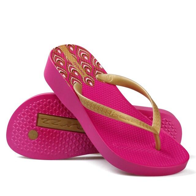 Hotmarzz tongs à talons hauts pour femmes, pantoufles dété, sandales tanga de plage, chaussures de maison